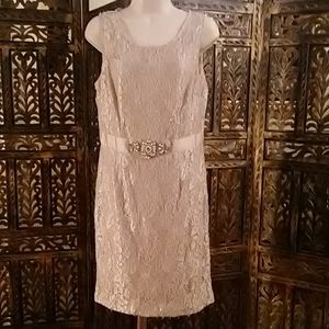Cream colored, lace beaded dress, size 8p